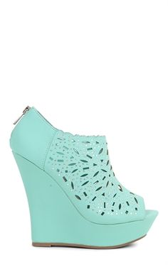 Deb Shops Open Toe Platform Wedge with Shielded Cutout Upper and Stones $30.67