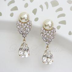Gold Wedding Earrings Vintage Earrings Pearl by LuluSplendor, $69.00