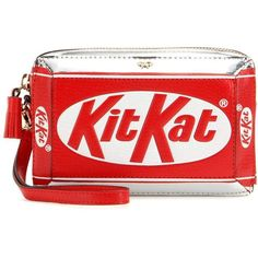 Anya Hindmarch KitKat Leather Clutch Bag ($1,215) ❤ liked on Polyvore featuring bags, handbags, clutches, red purse, 100 leather handbags, genuine leather purse, real leather purses and red handbags