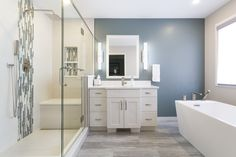 We doubled the fun for our client on Oakridge Blvd, starting with the ensuite bathroom renovation and doubling it up with a main floor bathroom renovation Soaker Tub, Large Shower, White Chic, Chic Bathrooms, Bathroom Renovations, Double Vanity, Standing Bathtub, Opportunity, Larger