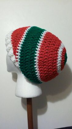 Check out this item in my Etsy shop https://www.etsy.com/listing/244720858/red-white-and-green-crochet-slouchy