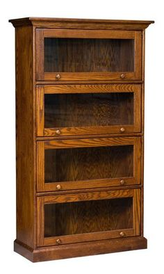 Amish Traditional Barrister Bookcase A best selling barrister bookcase! Available in 4 sizes. Each shelf has its own door. Easily view contents through the glass. Choice of plain glass or decorative stained glass options. #bookcase #barristerbookcase