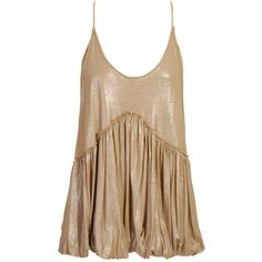 Stella McCartney , Lame effect camisole ❤ liked on Polyvore featuring tops, blusas, brown, tank tops, blouses, cami top, brown tank, brown cami, brown camisole and camisole tank top