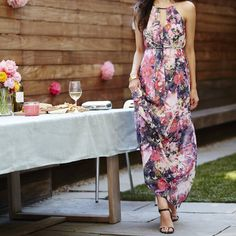 The dress that can outdo the party's flowers.