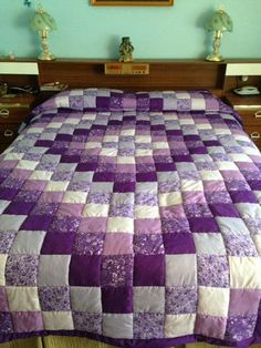 Extra length added for going over pillows! Purple Quilts, Purple Bedspread, Easy Quilts, Amish Quilts, Puff Quilt, Rag Quilt, Bargello Quilts, Scrappy Quilts, Quilt Block Patterns