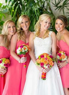 bright pink bridesmaid dresses and radiant smiles are a match made in heaven! see more beautiful makeup artistry by Pouf Beauty here http://www.weddingchicks.com/vendor-guide/pouf-beauty