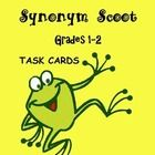 Synonym Scoot  is chocked full of synonyms used in first and second grades. The 28 SYNONYM TASK CARDS each have one word with four choices from wh...