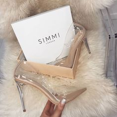 Competing head-to-head with EGO Shoes, Simmi Shoes aims to stay one high heel ahead of the rest. Founded in the London-based shoe brand offers High Heels Stilettos, Stiletto Heels, Shoes Heels, Nude Shoes, Clear High Heels, Clear Shoes, Silver Shoes, Pretty Shoes, Beautiful Shoes