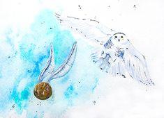 Harry Potter Art Print  - Hedwig and the Golden Snitch - Owl - Watercolor - Hogwarts - Nursery - Geek Art $25