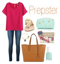 """Preppy"" by keilahrodgers ❤ liked on Polyvore featuring Frame Denim, Forever 21, Michael Kors, Jack Rogers, Essie and Alex and Ani"