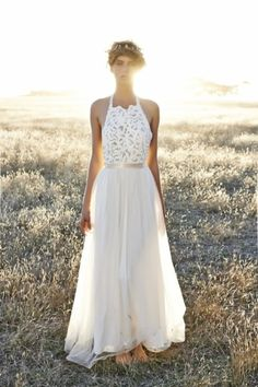 Boho Grace Loves Lace wedding dress: http://www.stylemepretty.com/2014/10/23/14-halter-dresses-that-will-make-you-swoon/