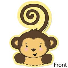 Monkey Neutral - Shaped Baby Shower Invitations | BigDotOfHappiness.com