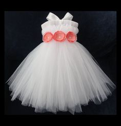 Coral Flower Girl Dress, Flowergirl Dresses, Weddings, Tutu Dress, Empire Waist Dress, Baby Dress, Girls Dress