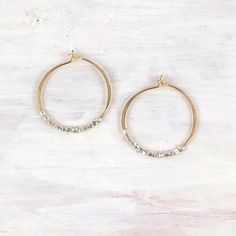 Thin Gold Duality Hoop Earrings With Silver Beads On Etsy 51 00
