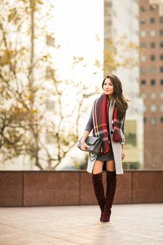 Vest :: Intermix   Dress :: T by Alexander Wang   Bag :: Chanel  Shoes :: Joie  Accessories :: Zara scarf, Cartier watch, Wanderlust + Co ring, Deborah Lippmann 'Stormy weather' gray color.