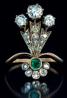 antique diamond and emerald ring - belle epoque jewelry