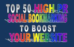 I will submit your blog or site Top 50 High PR Social Bookmarking Sites for example: twitter, reddit, stumbleupon, delicious, bibsonmy, folkd, diggo, digg, newsvine etc. No automated!!! 100% manually Submission.. After completed Social Bookmarking, I will give you a report in excel file.   High Quality Backlinks On time delivery White hat process Full services  No Adult sites please & only English Sites