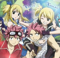 Haha I still like earth Lucy better. but I REALLY love edibles Natsu Fairy Tail Lucy, Fairy Tail Edolas, Fairy Tail Guild, Fairy Tail Ships, Fairy Tail Anime, Natsu E Lucy, Zeref, Fariy Tail, Fairy Tail Couples