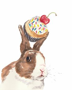 Title: Temptation    This is a 5x7 watercolor PRINT    This print of my original rabbit watercolor painting is produced in my studio by me, the