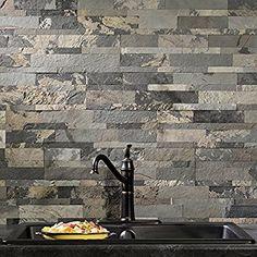 "Aspect Peel and Stick Stone Overlay Kitchen Backsplash - Medley Slate (5.9"" x 23.6"" x 1/8"" Panel - approx. 1 sq ft) - Easy DIY Tile Backsplash"
