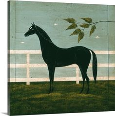 Black Horse Fenced by Warren Kimble