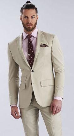 The Havana Suit Mens Fashion Suits, Male Fashion, Mens Suits, Men Formal, Formal Wear, Tan Suit Wedding, Man Style, Havana, Ties