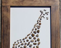 Giraffe by TheRockArtShop on Etsy Stone Crafts, Rock Crafts, Art Rupestre, Giraffe Art, Creation Deco, Sea Glass Art, Beach Crafts, Driftwood Art, Backyard Projects