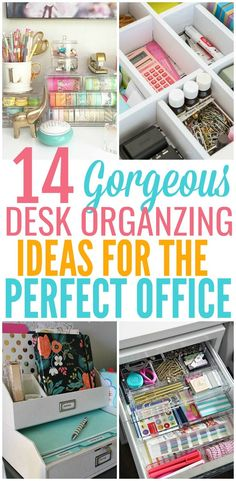 14 Desk Organization Hacks to Improve Your Productivity : When your desk space is a disaster how do you go about organizing it? Here you will find the best ways to organize your desk to improve productivity.