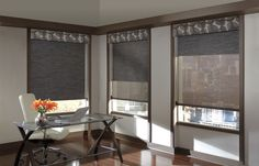 Do you want privacy but at the same time the ability to see through your shades during the day? A Dual Roller shade is the perfect solution. Talk to our designers at Drapery Affair/The Floor Store to see all of the options available for your windows! Notice the Roller Shades and Fabric Valances made by Hunter Douglas: