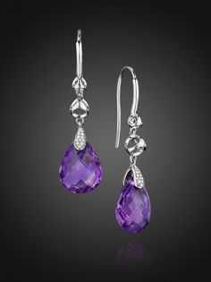 Rhodium Plated Sterling Silver Icona Drop Earring with Amethyst and Diamonds 0.7