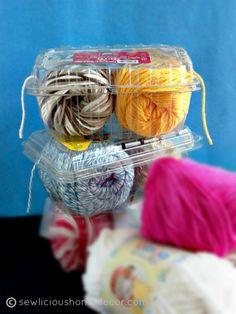 DIY toilet paper roll thread holder Plastic container thread holder at sewlicioushomedec … # Yarn Storage, Craft Room Storage, Diy Storage, Storage Ideas, Recycling Containers, Plastic Containers, Storage Containers, Filet Crochet, C2c Crochet