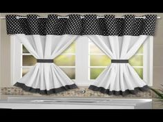 Cortina de Cozinha de Poá Preto no Kitchen Curtains And Valances, Cute Curtains, Roman Curtains, Modern Curtains, Curtains Living, Colorful Curtains, Valance Curtains, Rideaux Shabby Chic, Boston House