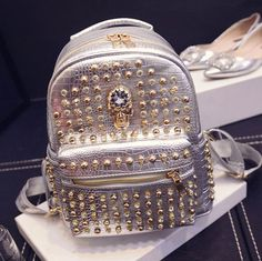Punk Skull Rivet College Backpacks