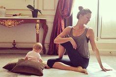 Supermodel Gisele Bündchen kombiniert ganz lässig Fitness und Baby!