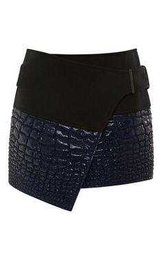 Reptile-Jacquard Mini Wrap Skirt by Kenzo Now Available on Moda Operandi