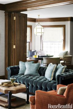 """Peacock: """"I had fun putting together colors that were appropriate to the house,"""" says Nina Farmer says of this Boston period home. Click through for more rustic fall color schemes."""