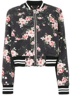 Cute cherry blossom cropped bomber jacket!