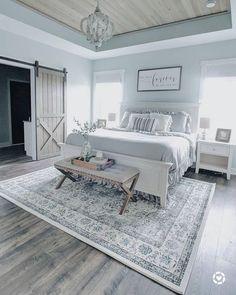 Farmhouse Bedroom Decor, Home Decor Bedroom, Modern Bedroom, Master Bedrooms, Master Bedroom Decorating Ideas, Contemporary Bedroom, Bedroom Rustic, Blue Bedroom, Cozy Bedroom