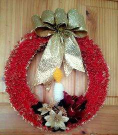 Red Christmas Hand-Knitted with Lace Wreath and decorated with Silk Flowers & wired ribbon.