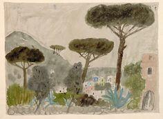 'Landschaft bei Positano' (Italian Landscape) (1954) by German artist Max Peiffer Watenphul (1896-1976). Watercolor, 41.1 x 55.2 cm. via the artist's site
