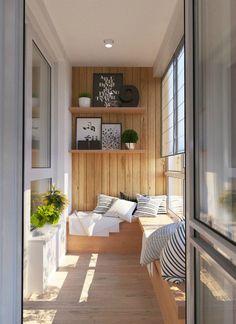 Уютная лоджия в скандинавском стиле.