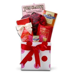 All My Love  Give a gift that is overflowing with love this Valentine's Day!   A Valentine's Day Box is filled with Tom Clark's Caramel Popcorn (3.5oz), one Ghirardelli Chocolate and Caramel Bar (3.5oz), one Elmer's Chocolate Heart (2oz), Almond Roca Candy (.80oz), one 2-piece package of Lindt Milk Chocolate Truffles, and one Ghirardelli Chocolate and Raspberry Tasting Square (.53oz). Gift ships closed.  $39.99