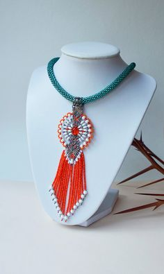 Bright bead crochet necklace with micro macrame by MartaJewelry