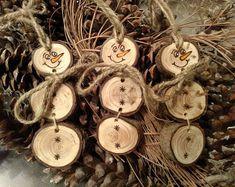 Wood Burned Snowman Christmas Ornaments -- Stacked Snowman Ornaments/Gift Tags Pine Wood slices