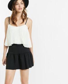 black high waisted flippy skirt