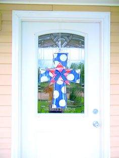Your place to buy and sell all things handmade Cross Door Hangers, Wooden Door Hangers, Wooden Doors, Veterans Day, Shop Ideas, Crosses, Glass Door, 4th Of July, Wreaths