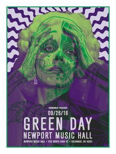 """'Green Day at Newport Music Hall, Columbus, September 26 2016' concert poster by Brian Ewing . 18"""" x 24"""" screenprint in a signed and numbere..."""