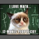 "Siamese Cats Applehead Grumpy Cat Poster- I love math it makes people cry - This was made by request for all the math teachers out there! Features the original Grumpy Cat photo over a chalk board with the caption ""I love math. It makes people cry. Grumpy Cat Quotes, Funny Grumpy Cat Memes, Funny Animal Memes, Funny Animal Pictures, Funny Cats, Funny Animals, Funny Memes, Hilarious, Memes Humor"