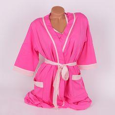 Розов комплект халат и нощница за бременни