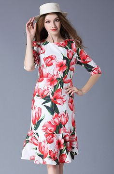 Buy Now (New Fashion 1/2 Sleeve Floral Dress) from Sheetag - http://www.sheetag.com/product/new-fashion-12-sleeve-floral-dress/